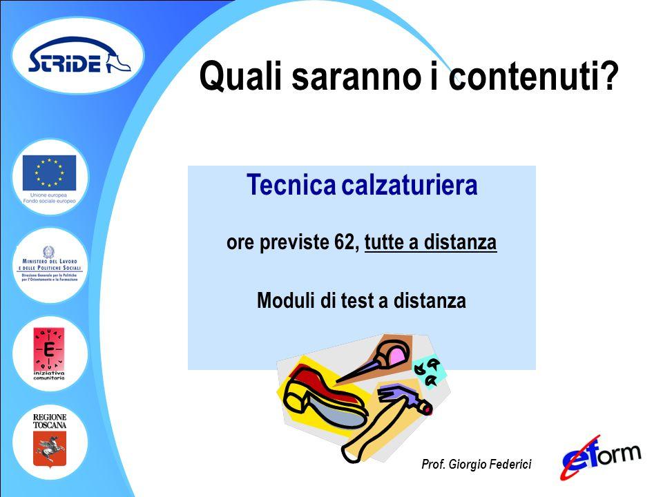 Prof. Giorgio Federici Quali saranno i contenuti? Tecnica calzaturiera ore previste 62, tutte a distanza Moduli di test a distanza