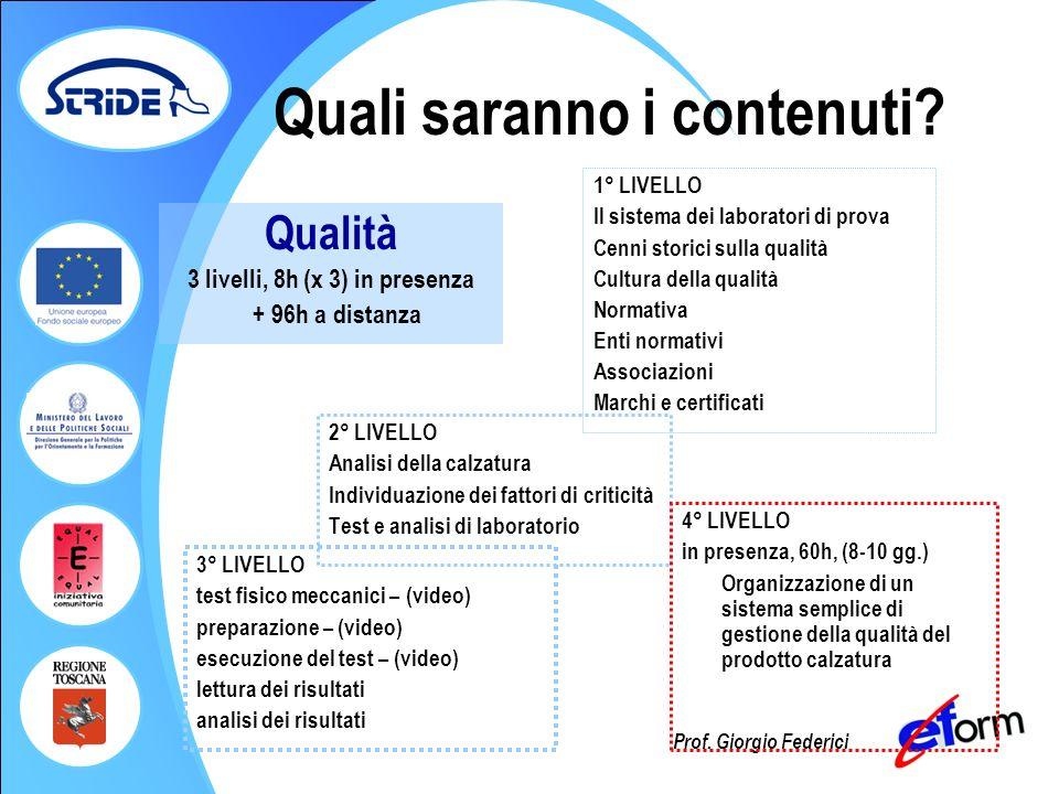 Prof. Giorgio Federici Quali saranno i contenuti? 2° LIVELLO Analisi della calzatura Individuazione dei fattori di criticità Test e analisi di laborat