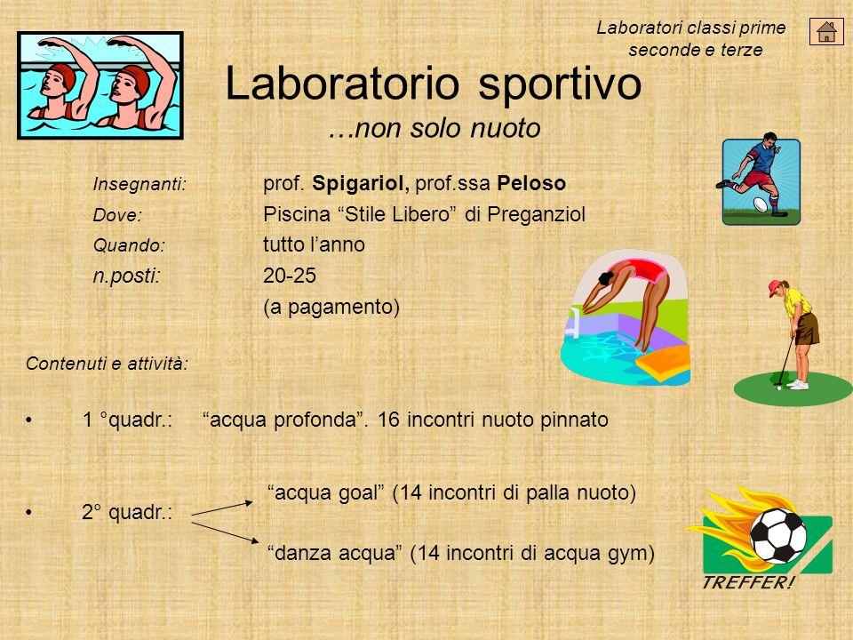 Laboratorio sportivo …non solo nuoto Insegnanti: prof.