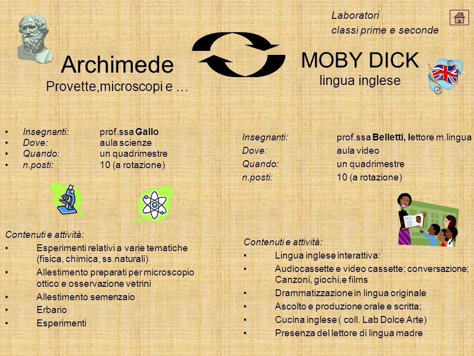 Archimede Provette,microscopi e … MOBY DICK lingua inglese Insegnanti:prof.ssa Gallo Dove: aula scienze Quando:un quadrimestre n.posti:10 (a rotazione