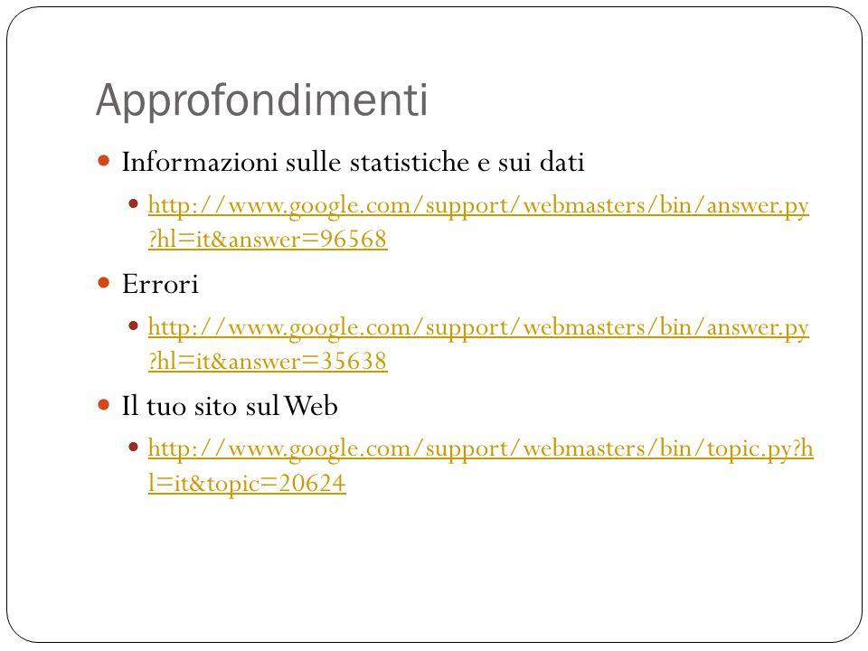 Approfondimenti Informazioni sulle statistiche e sui dati http://www.google.com/support/webmasters/bin/answer.py ?hl=it&answer=96568 http://www.google.com/support/webmasters/bin/answer.py ?hl=it&answer=96568 Errori http://www.google.com/support/webmasters/bin/answer.py ?hl=it&answer=35638 http://www.google.com/support/webmasters/bin/answer.py ?hl=it&answer=35638 Il tuo sito sul Web http://www.google.com/support/webmasters/bin/topic.py?h l=it&topic=20624 http://www.google.com/support/webmasters/bin/topic.py?h l=it&topic=20624