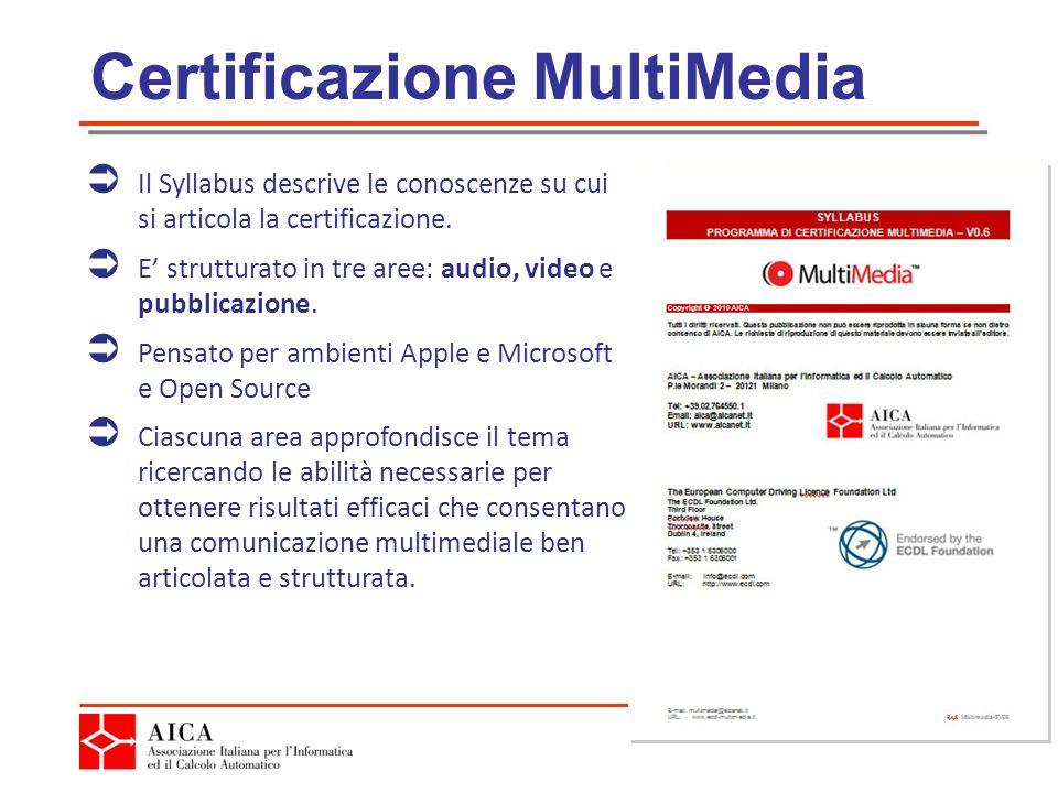 Certificazione MultiMedia Il Syllabus descrive le conoscenze su cui si articola la certificazione.