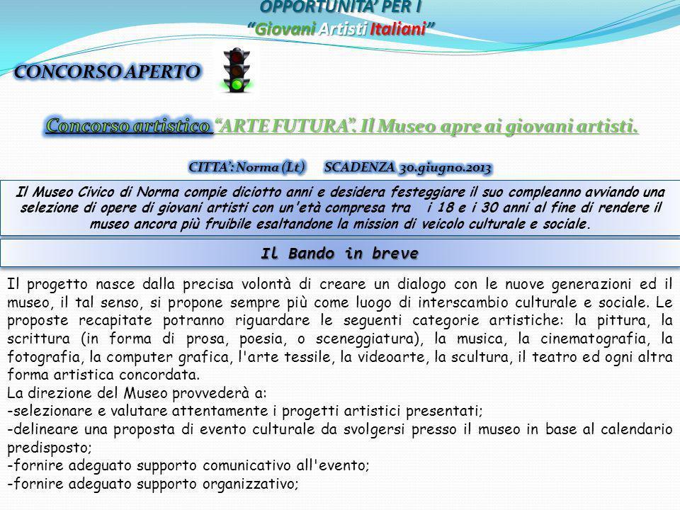 OPPORTUNITA PER IGiovani Artisti Italiani Il Museo Civico di Norma compie diciotto anni e desidera festeggiare il suo compleanno avviando una selezion
