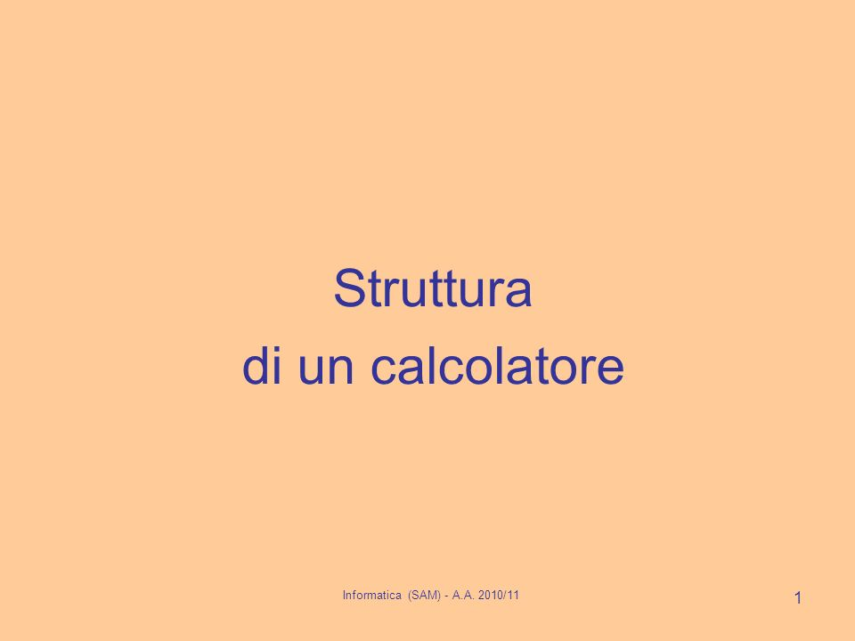 Struttura di un calcolatore 1 Informatica (SAM) - A.A. 2010/11