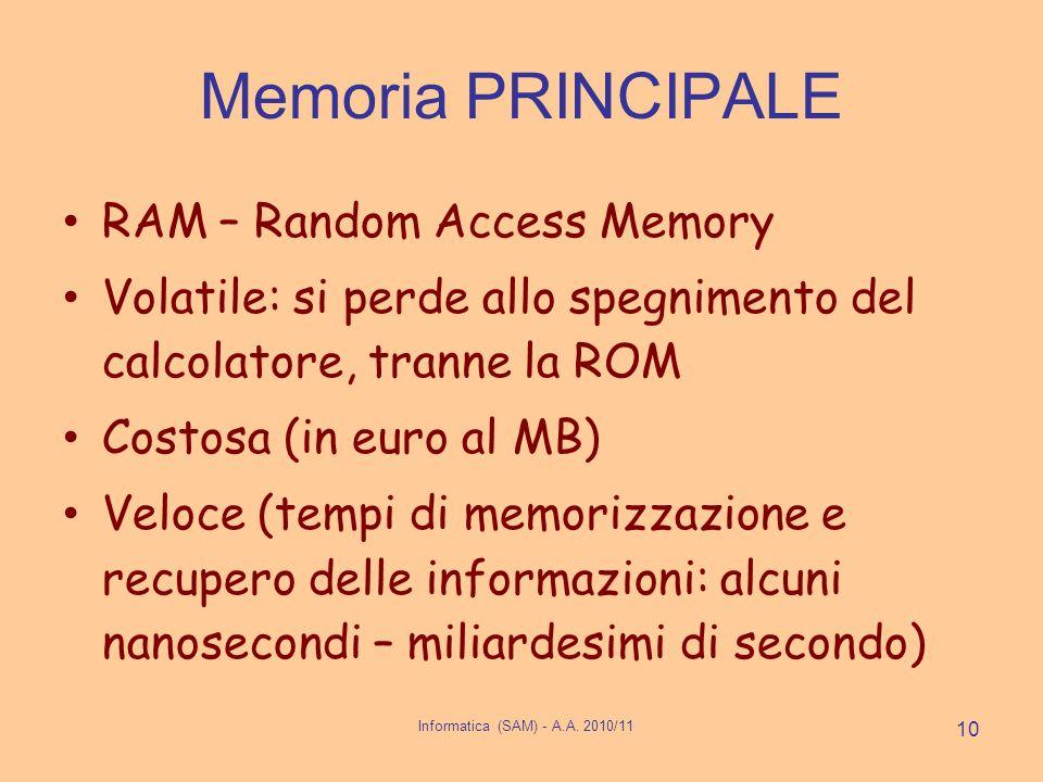 Informatica (SAM) - A.A. 2010/11 10 Memoria PRINCIPALE RAM – Random Access Memory Volatile: si perde allo spegnimento del calcolatore, tranne la ROM C