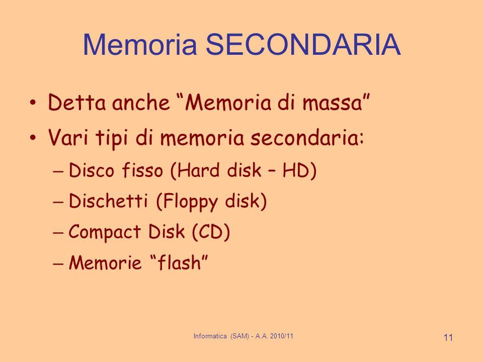 Informatica (SAM) - A.A. 2010/11 11 Memoria SECONDARIA Detta anche Memoria di massa Vari tipi di memoria secondaria: – Disco fisso (Hard disk – HD) –