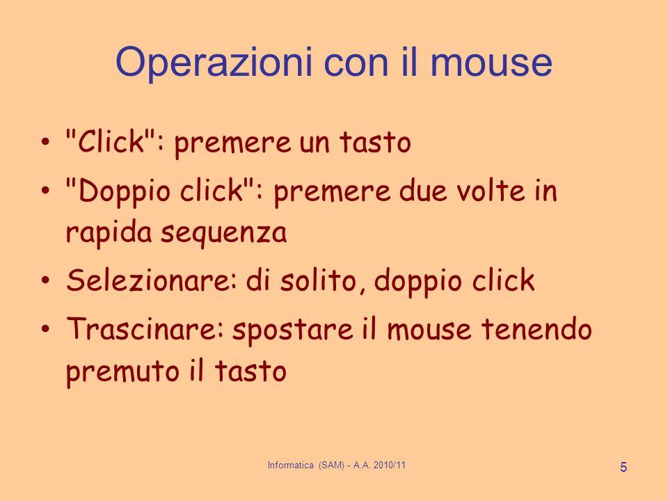 Informatica (SAM) - A.A. 2010/11 5 Operazioni con il mouse