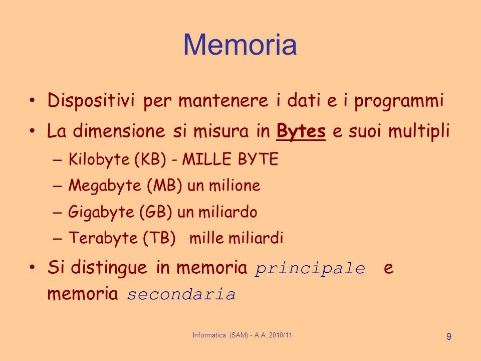 Informatica (SAM) - A.A. 2010/11 9 Memoria Dispositivi per mantenere i dati e i programmi La dimensione si misura in Bytes e suoi multipli – Kilobyte