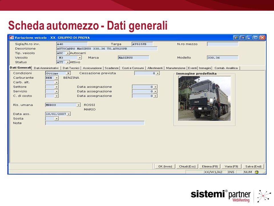 Scheda automezzo - Dati generali