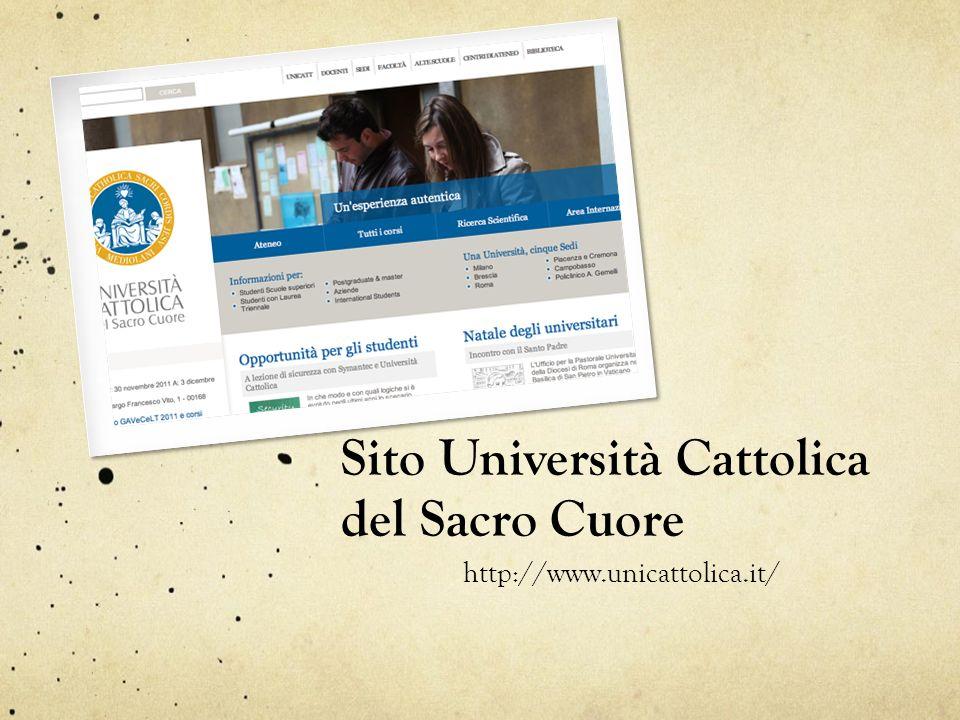 Sito Università Cattolica del Sacro Cuore http://www.unicattolica.it/
