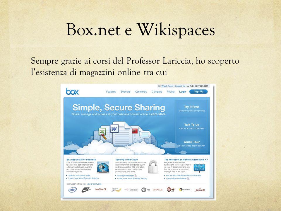Box.net e Wikispaces Sempre grazie ai corsi del Professor Lariccia, ho scoperto lesistenza di magazzini online tra cui