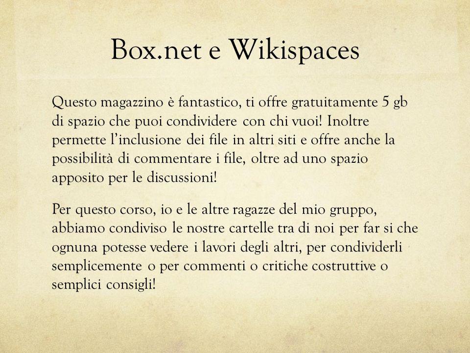 Box.net e Wikispaces Questo magazzino è fantastico, ti offre gratuitamente 5 gb di spazio che puoi condividere con chi vuoi.