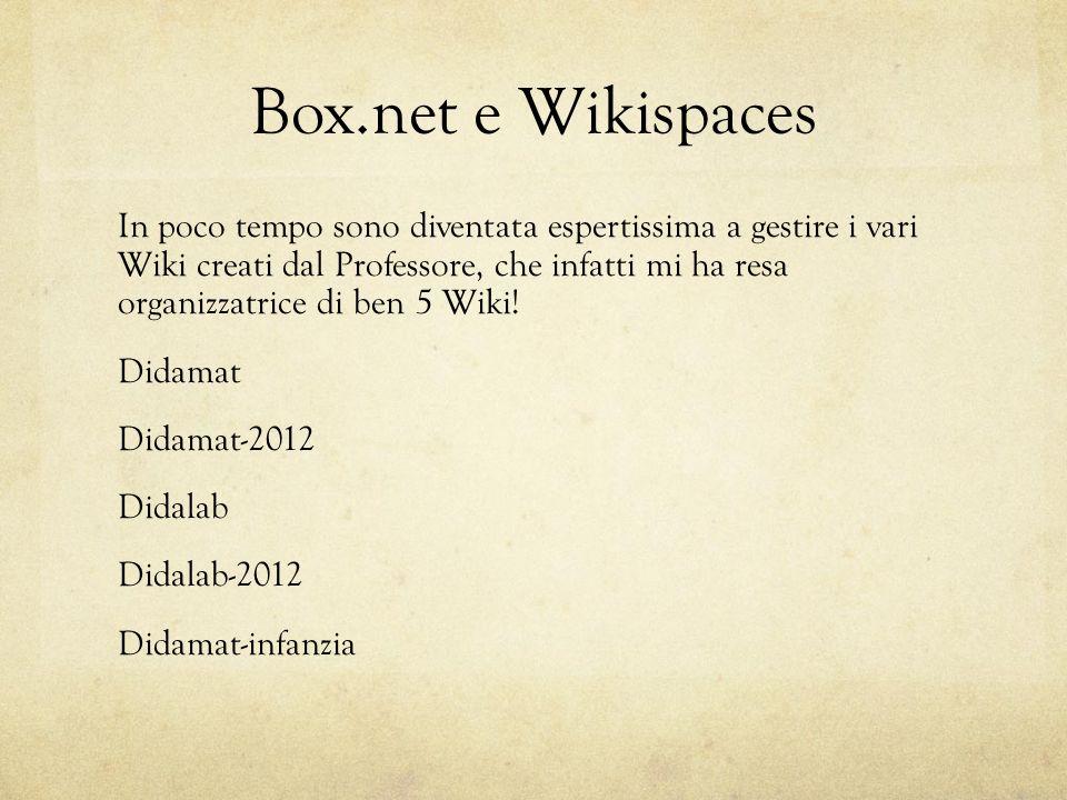 Box.net e Wikispaces In poco tempo sono diventata espertissima a gestire i vari Wiki creati dal Professore, che infatti mi ha resa organizzatrice di ben 5 Wiki.