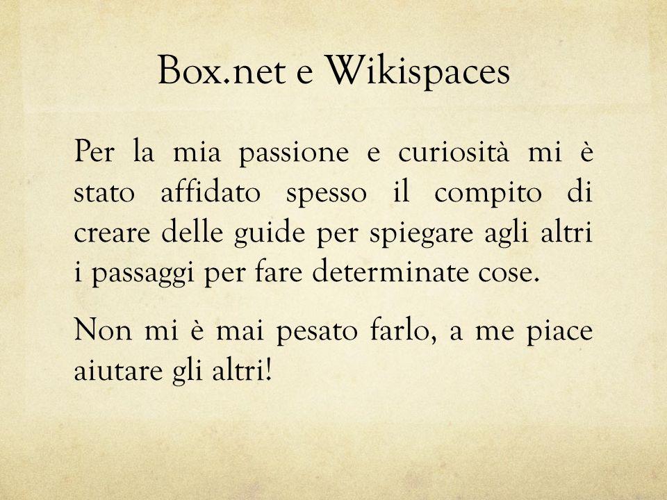 Box.net e Wikispaces Per la mia passione e curiosità mi è stato affidato spesso il compito di creare delle guide per spiegare agli altri i passaggi per fare determinate cose.