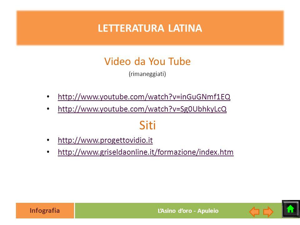 Infografia LAsino doro - Apuleio LETTERATURA LATINA Video da You Tube (rimaneggiati) http://www.youtube.com/watch?v=inGuGNmf1EQ http://www.youtube.com