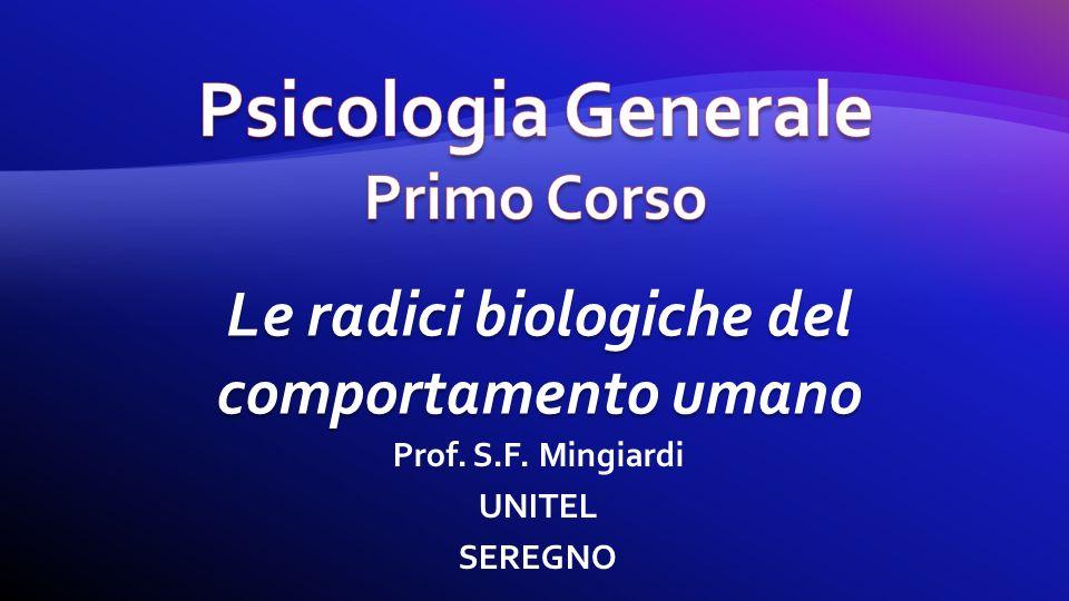 Prof. S.F. Mingiardi UNITEL SEREGNO Le radici biologiche del comportamento umano