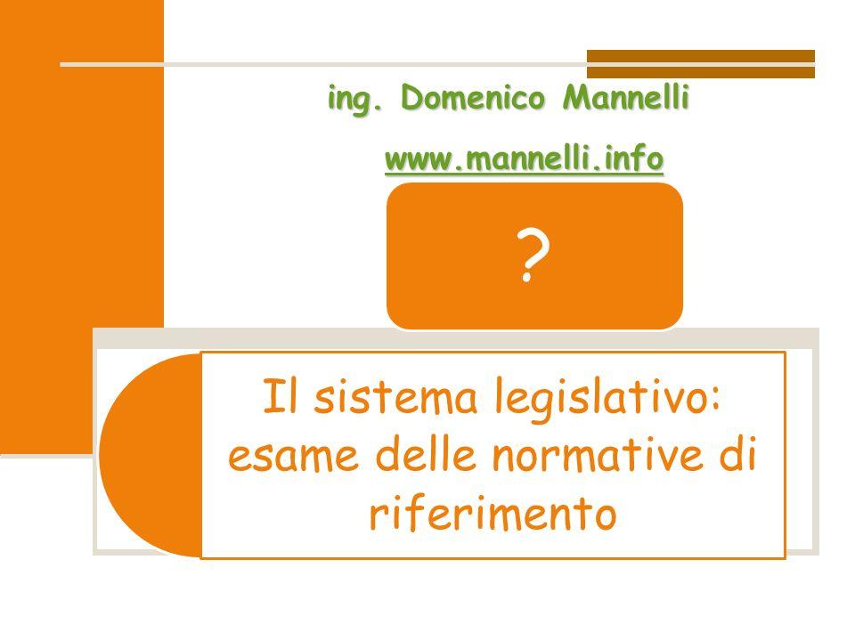 Il sistema legislativo: esame delle normative di riferimento ? ing. Domenico Mannelli ww wwww wwww.... mmmm aaaa nnnn nnnn eeee llll llll iiii.... iii