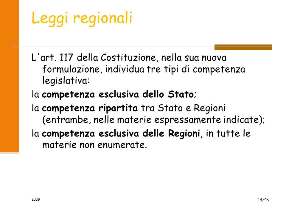 2009 14/96 Leggi regionali L'art. 117 della Costituzione, nella sua nuova formulazione, individua tre tipi di competenza legislativa: la competenza es