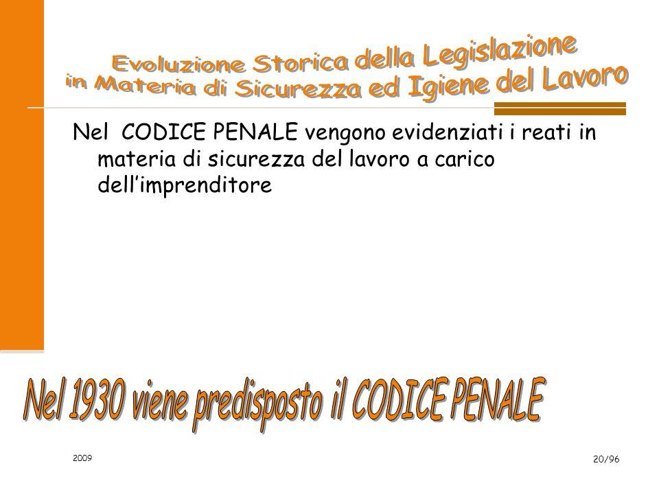 2009 20/96 Nel CODICE PENALE vengono evidenziati i reati in materia di sicurezza del lavoro a carico dellimprenditore