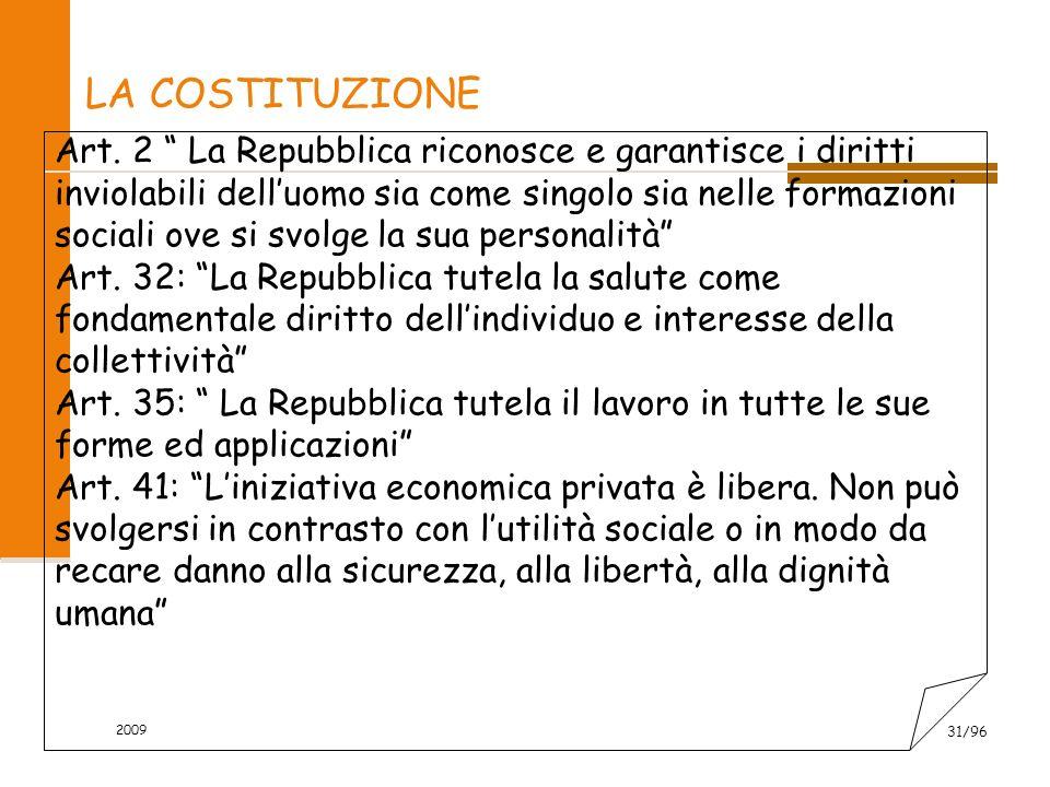 2009 31/96 LA COSTITUZIONE Art. 2 La Repubblica riconosce e garantisce i diritti inviolabili delluomo sia come singolo sia nelle formazioni sociali ov
