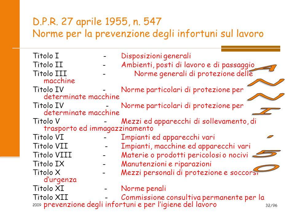 2009 32/96 D.P.R. 27 aprile 1955, n. 547 Norme per la prevenzione degli infortuni sul lavoro Titolo I -Disposizioni generali Titolo II -Ambienti, post