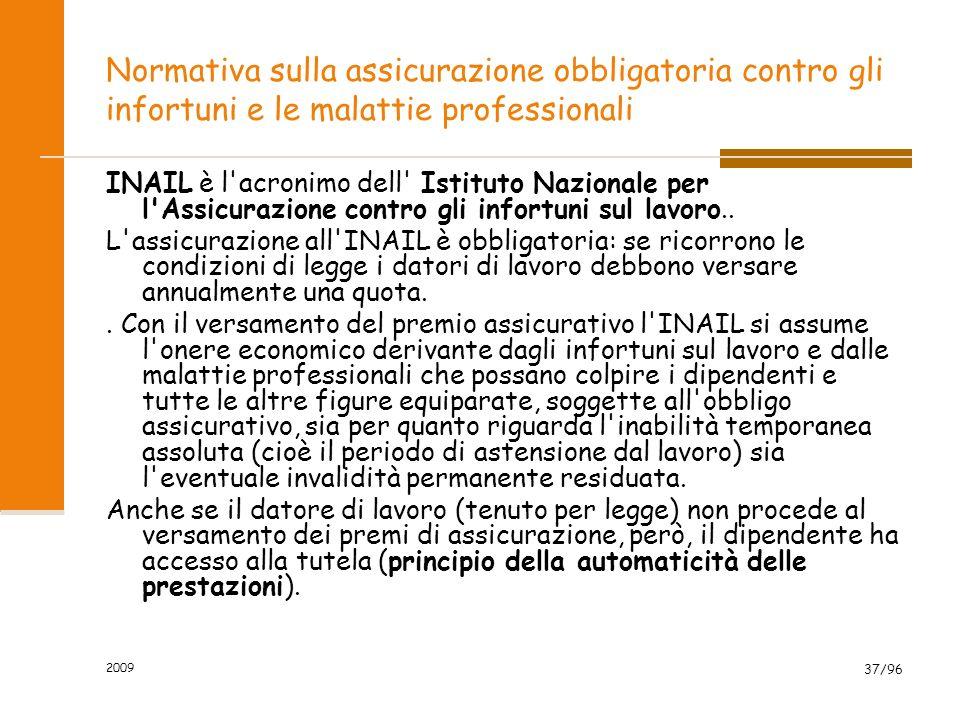 2009 37/96 Normativa sulla assicurazione obbligatoria contro gli infortuni e le malattie professionali INAIL è l acronimo dell Istituto Nazionale per l Assicurazione contro gli infortuni sul lavoro..