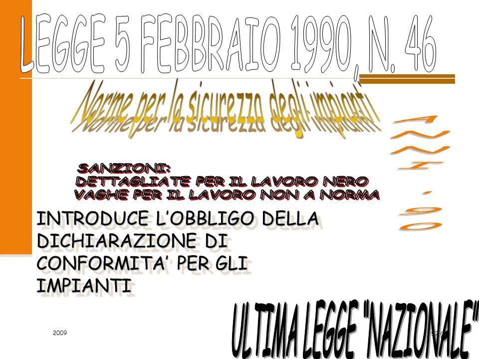 2009 52/96 INTRODUCE LOBBLIGO DELLA DICHIARAZIONE DI CONFORMITA PER GLI IMPIANTI