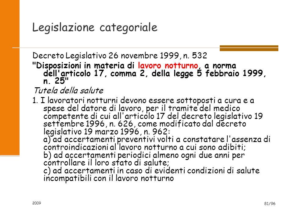 2009 81/96 Legislazione categoriale Decreto Legislativo 26 novembre 1999, n.
