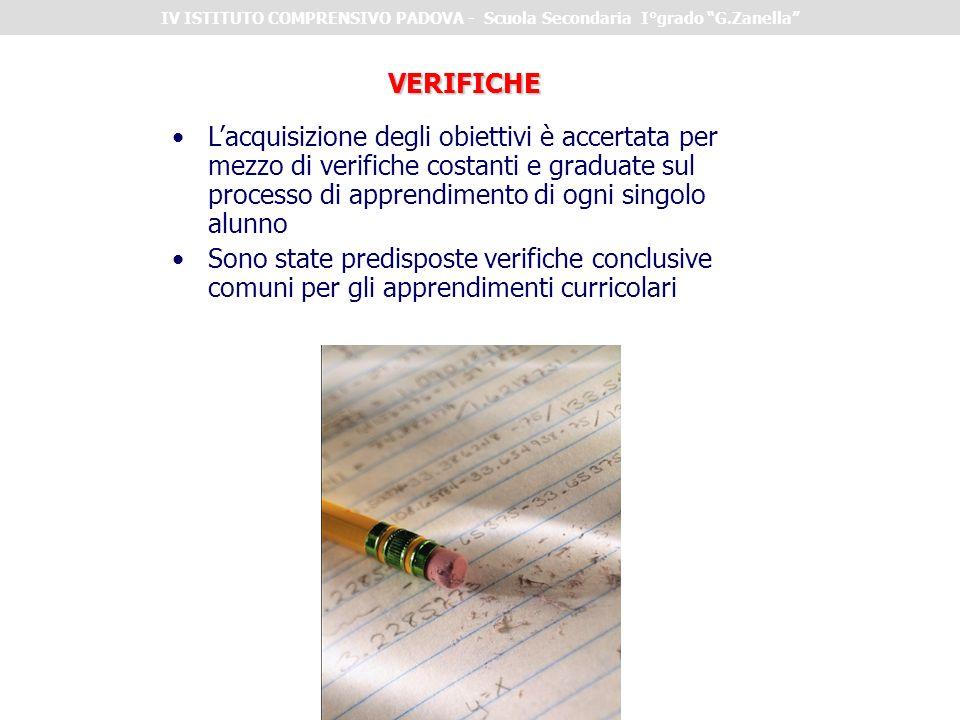 VERIFICHE Lacquisizione degli obiettivi è accertata per mezzo di verifiche costanti e graduate sul processo di apprendimento di ogni singolo alunno So