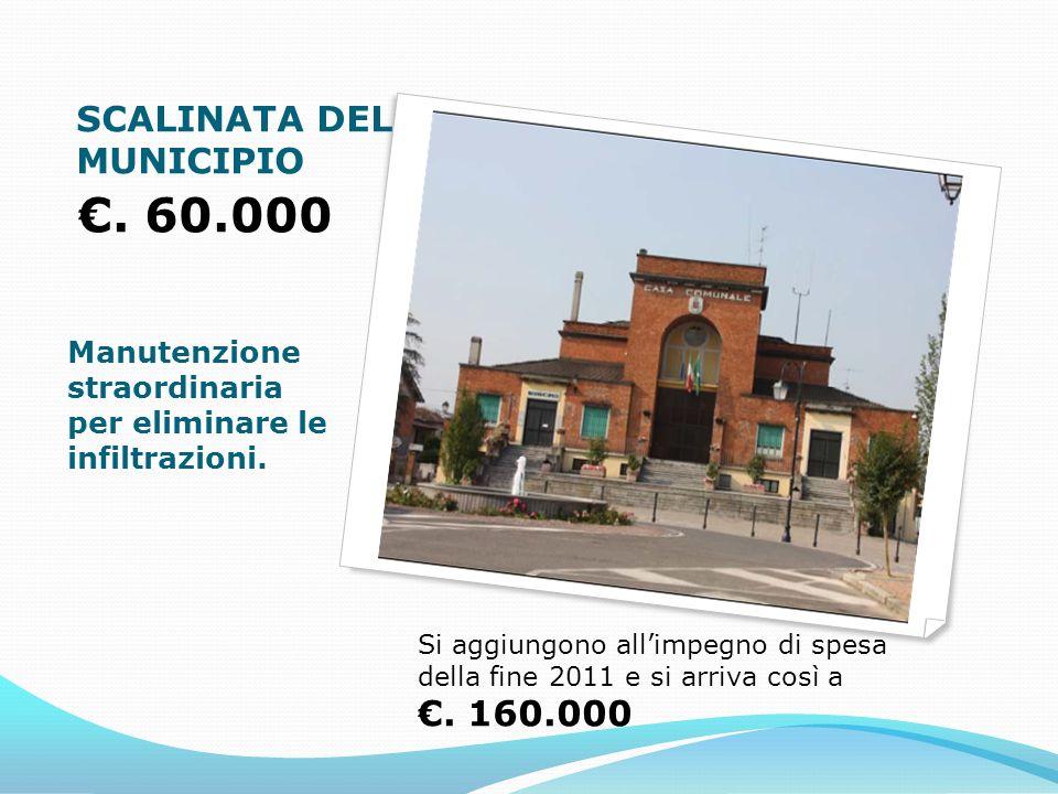 SCALINATA DEL MUNICIPIO. 60.000 Manutenzione straordinaria per eliminare le infiltrazioni.