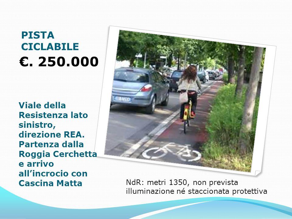 PISTA CICLABILE. 250.000 Viale della Resistenza lato sinistro, direzione REA.