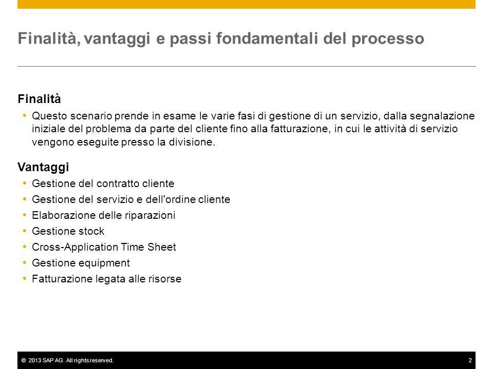 ©2013 SAP AG. All rights reserved.2 Finalità, vantaggi e passi fondamentali del processo Finalità Questo scenario prende in esame le varie fasi di ges