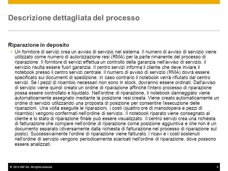 ©2013 SAP AG. All rights reserved.5 Descrizione dettagliata del processo Riparazione in deposito Un fornitore di servizi crea un avviso di servizio ne