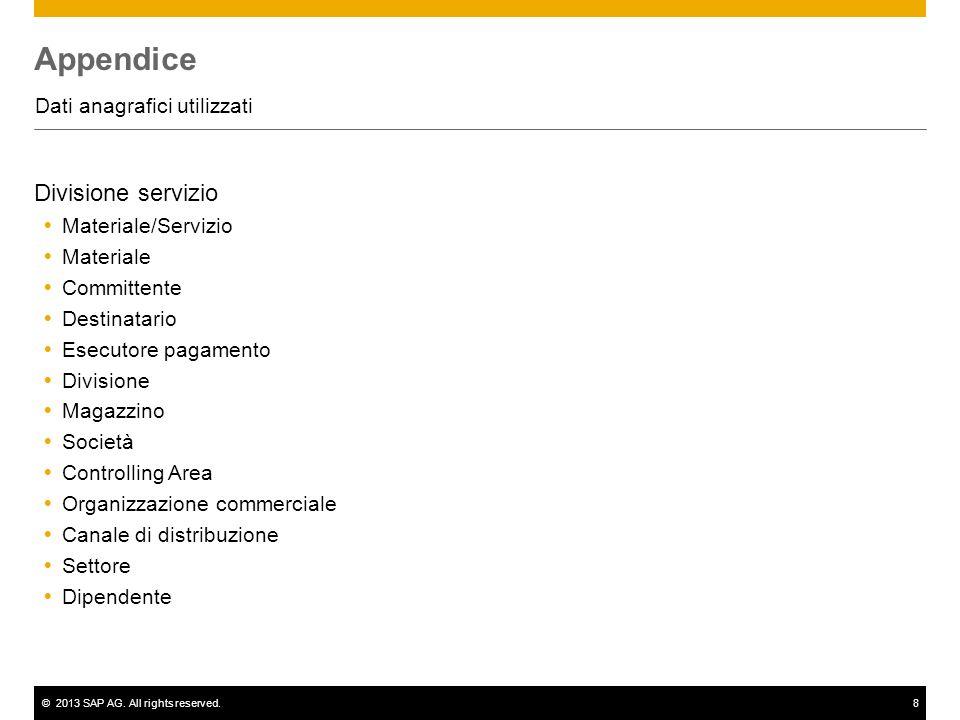 ©2013 SAP AG. All rights reserved.8 Appendice Dati anagrafici utilizzati Divisione servizio Materiale/Servizio Materiale Committente Destinatario Esec