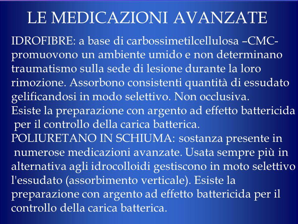 LE MEDICAZIONI AVANZATE IDROFIBRE: a base di carbossimetilcellulosa –CMC- promuovono un ambiente umido e non determinano traumatismo sulla sede di les