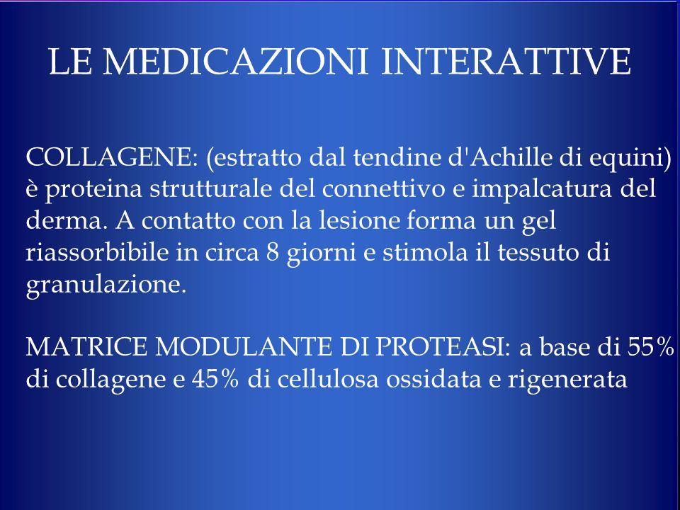 LE MEDICAZIONI INTERATTIVE COLLAGENE: (estratto dal tendine d'Achille di equini) è proteina strutturale del connettivo e impalcatura del derma. A cont