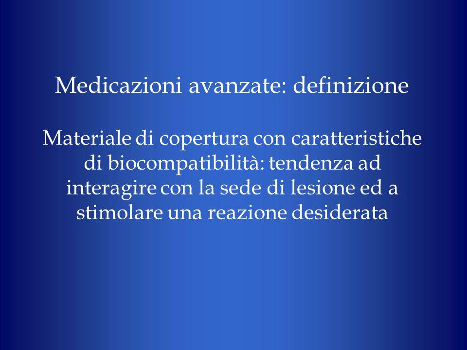 Materiale di copertura con caratteristiche di biocompatibilità: tendenza ad interagire con la sede di lesione ed a stimolare una reazione desiderata M