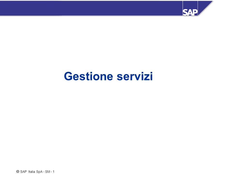SAP Italia SpA - SM - 2 Componenti del Service Management Gestione Base Installata Clienti Ubicazioni clienti / sistemi (Functional locations) Articoli serializzati/ Equipment Contratti di servizio Gestione chiamate Ricevimento chiamata Gestione / avanzamento Chiusura chiamata Scenari installazione / riparazione c/o cliente riparazione in magazzino Storico servizi, Analisi