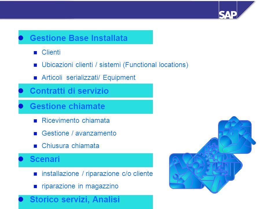 SAP Italia SpA - SM - 10 Gestione Base Installata Clienti Ubicazioni clienti / sistemi (Functional locations) Articoli serializzati/ Equipment Contrat