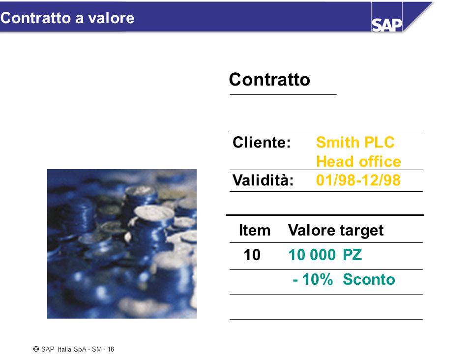 SAP Italia SpA - SM - 18 Contratto ItemValore target 1010 000PZ - 10%Sconto Cliente:Smith PLC Head office Validità:01/98-12/98 Contratto a valore