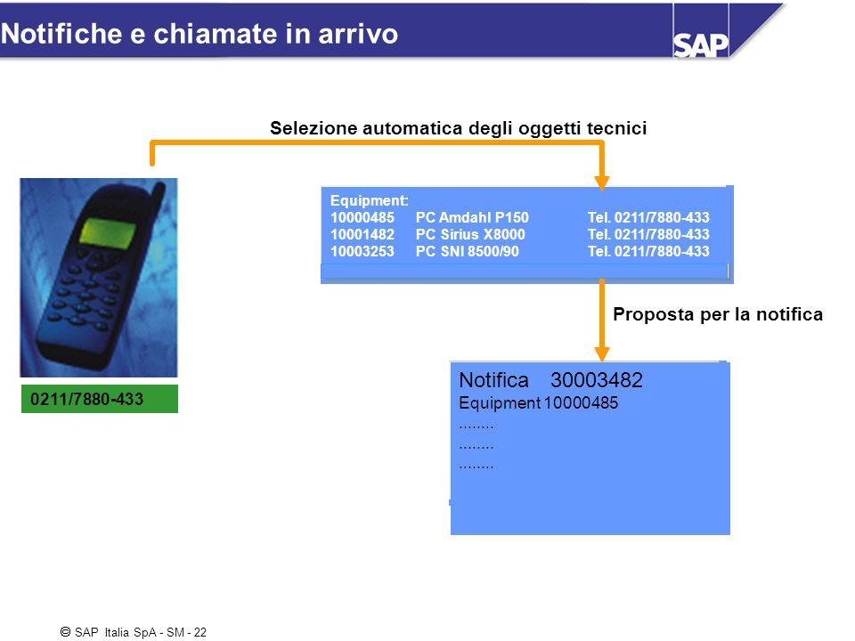 SAP Italia SpA - SM - 22 Notifiche e chiamate in arrivo 0211/7880-433 Equipment: 10000485 PC Amdahl P150 Tel. 0211/7880-433 10001482 PC Sirius X8000 T