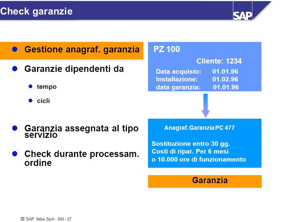 SAP Italia SpA - SM - 27 PZ 100 Cliente: 1234 Data acquisto: 01.01.96 Installazione: 01.02.96 data garanzia: 01.01.96 Check garanzie Anagraf. Garanzia