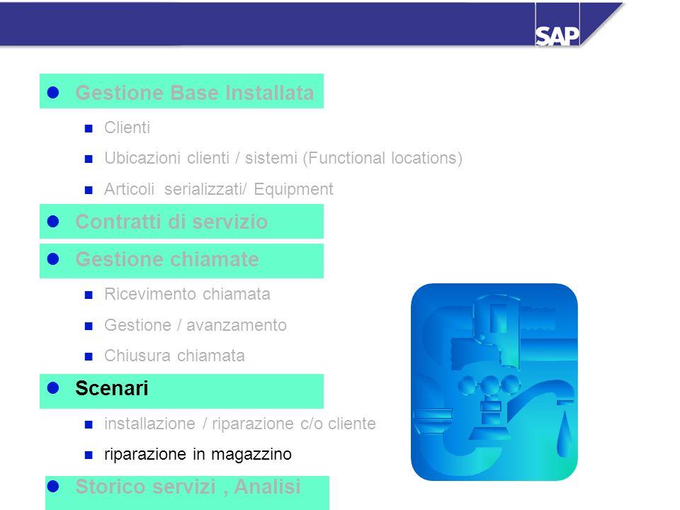 SAP Italia SpA - SM - 33 Gestione Base Installata Clienti Ubicazioni clienti / sistemi (Functional locations) Articoli serializzati/ Equipment Contrat