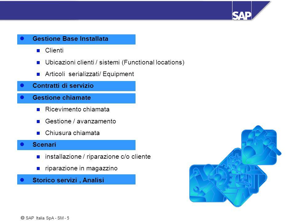 SAP Italia SpA - SM - 5 Gestione Base Installata Clienti Ubicazioni clienti / sistemi (Functional locations) Articoli serializzati/ Equipment Contratt