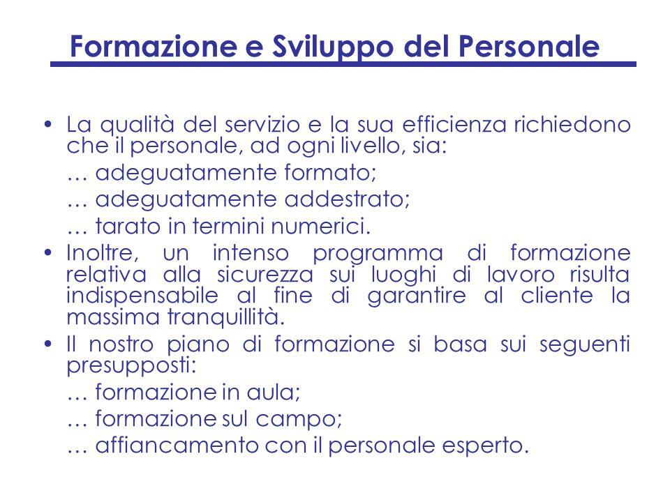 Formazione e Sviluppo del Personale La qualità del servizio e la sua efficienza richiedono che il personale, ad ogni livello, sia: … adeguatamente for