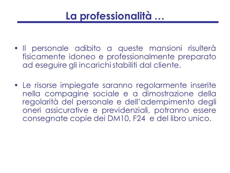La professionalità … Il personale adibito a queste mansioni risulterà fisicamente idoneo e professionalmente preparato ad eseguire gli incarichi stabi