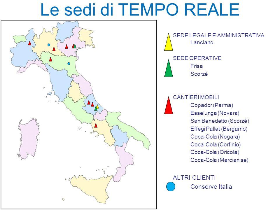 SEDE LEGALE E AMMINISTRATIVA Lanciano SEDE OPERATIVE Frisa Scorzè CANTIERI MOBILI Copador (Parma) Esselunga (Novara) San Benedetto (Scorzè) Effegi Pal