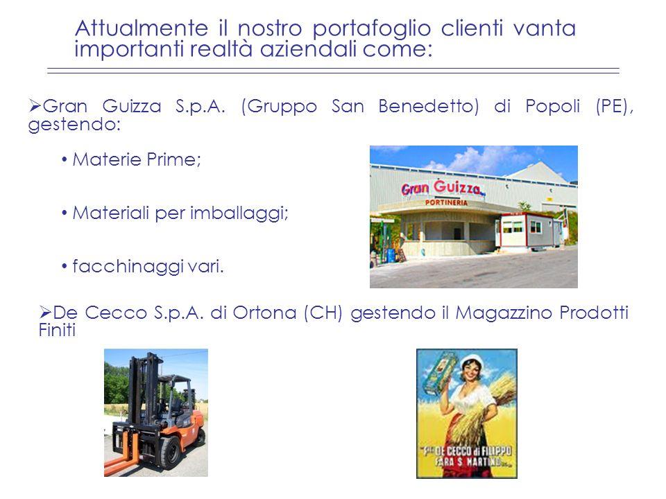 Gran Guizza S.p.A. (Gruppo San Benedetto) di Popoli (PE), gestendo: Materie Prime; Materiali per imballaggi; facchinaggi vari. Attualmente il nostro p