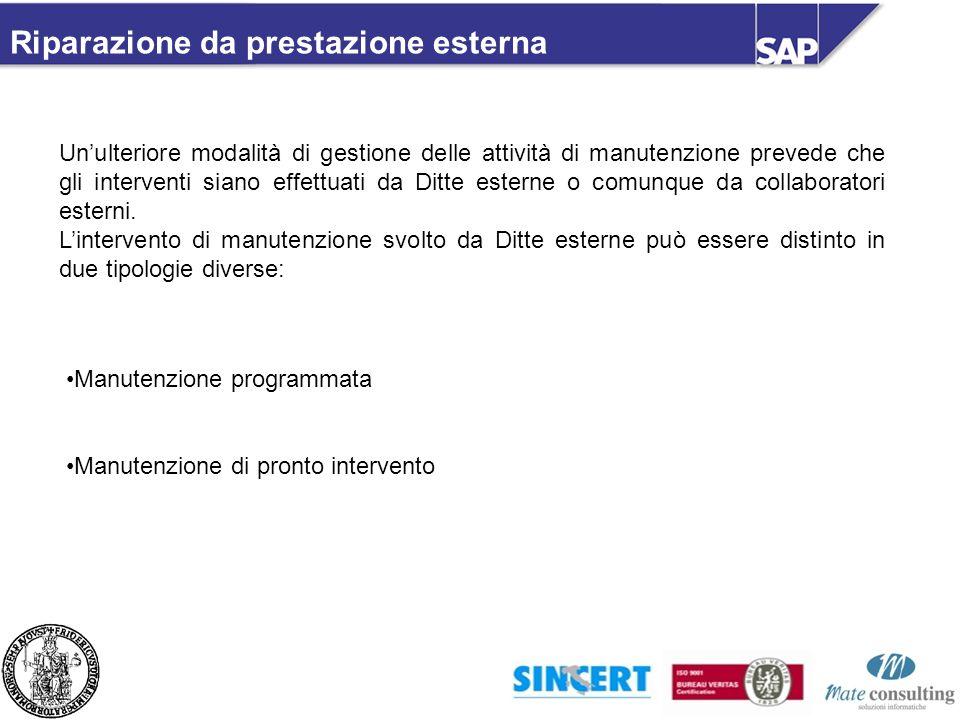 Riparazione da prestazione esterna Unulteriore modalità di gestione delle attività di manutenzione prevede che gli interventi siano effettuati da Ditt