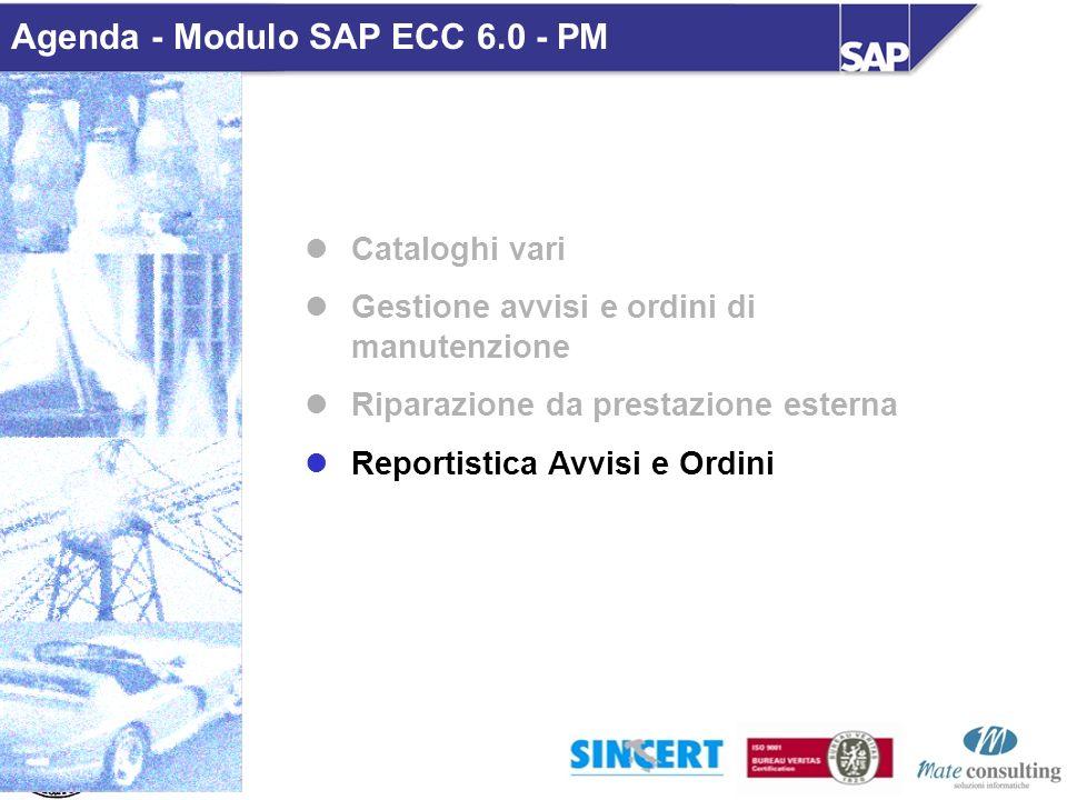 Cataloghi vari Gestione avvisi e ordini di manutenzione Riparazione da prestazione esterna Reportistica Avvisi e Ordini Agenda - Modulo SAP ECC 6.0 -